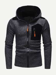 Men Zipper Fly Hooded Sweatshirt