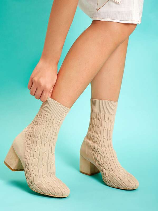 2a6993d022 Cable Knit Sock Boots | SHEIN