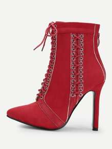 Lace Up Back Zipper Boots