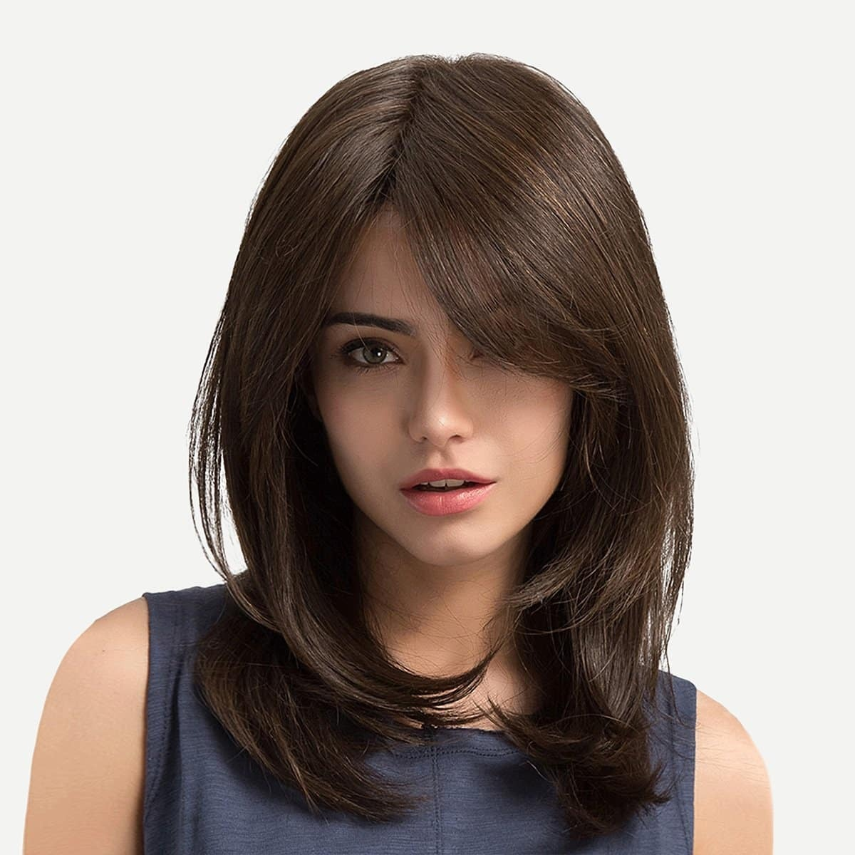 Natural Wig With Bangs 1pc