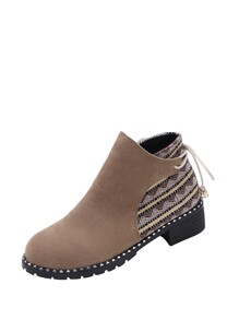 Contrast Geo Pattern Suede Ankle Boots
