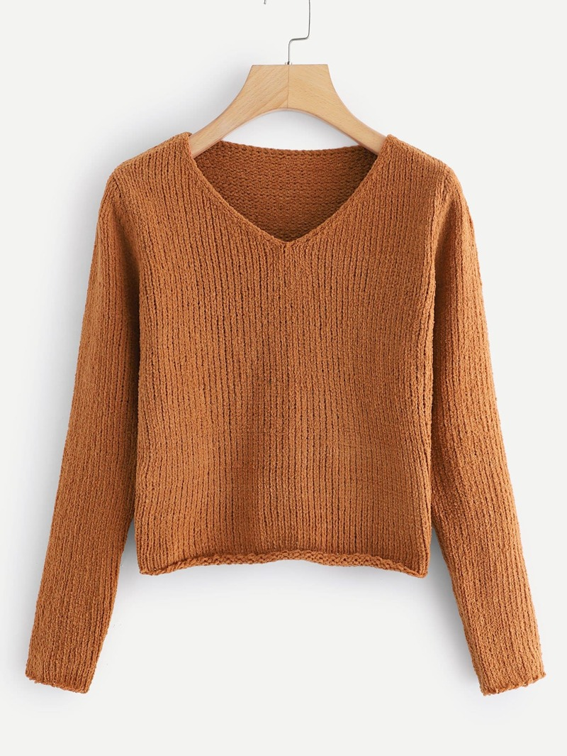 V Neck Crop Sweater