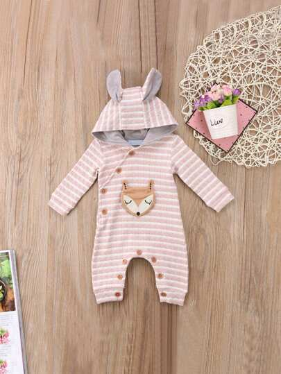 Toddler Girls Rabbit Ears Detail Patched Jumpsuit