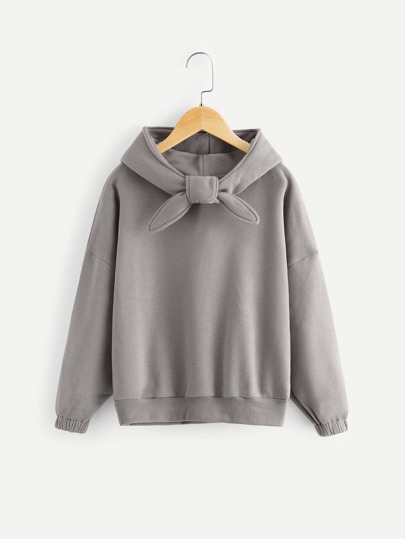 Girls Knot Front Solid Hoodie