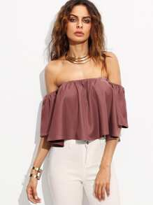 Off Shoulder Solid Blouse