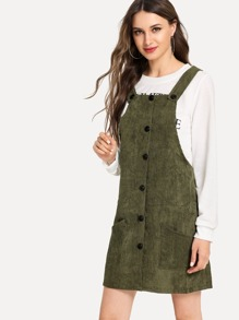 Button Front Solid Corduroy Dress