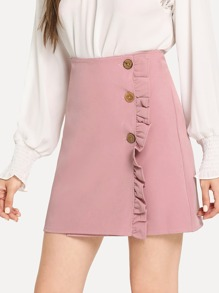 Frill Decoration Button Front Skirt