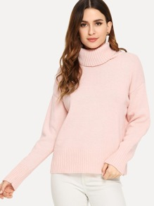 High Neck Solid Jumper