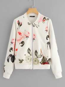 Floral Print Zip Up Bomber Jacket