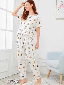 e87851565b Allover Dog Print Pyjama Set | SHEIN UK