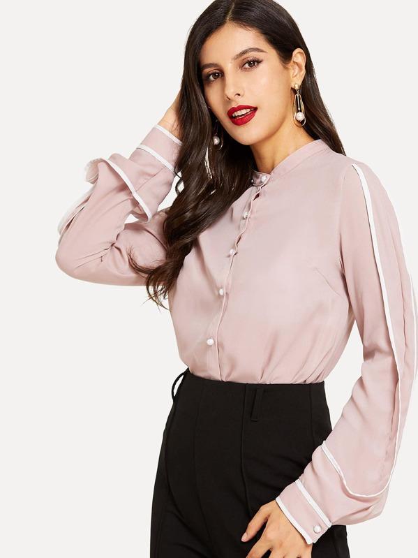 25a1ca8a7a387 Contrast Binding Curved Hem Shirt | SHEIN