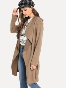 Waterfall Neck Solid Coat