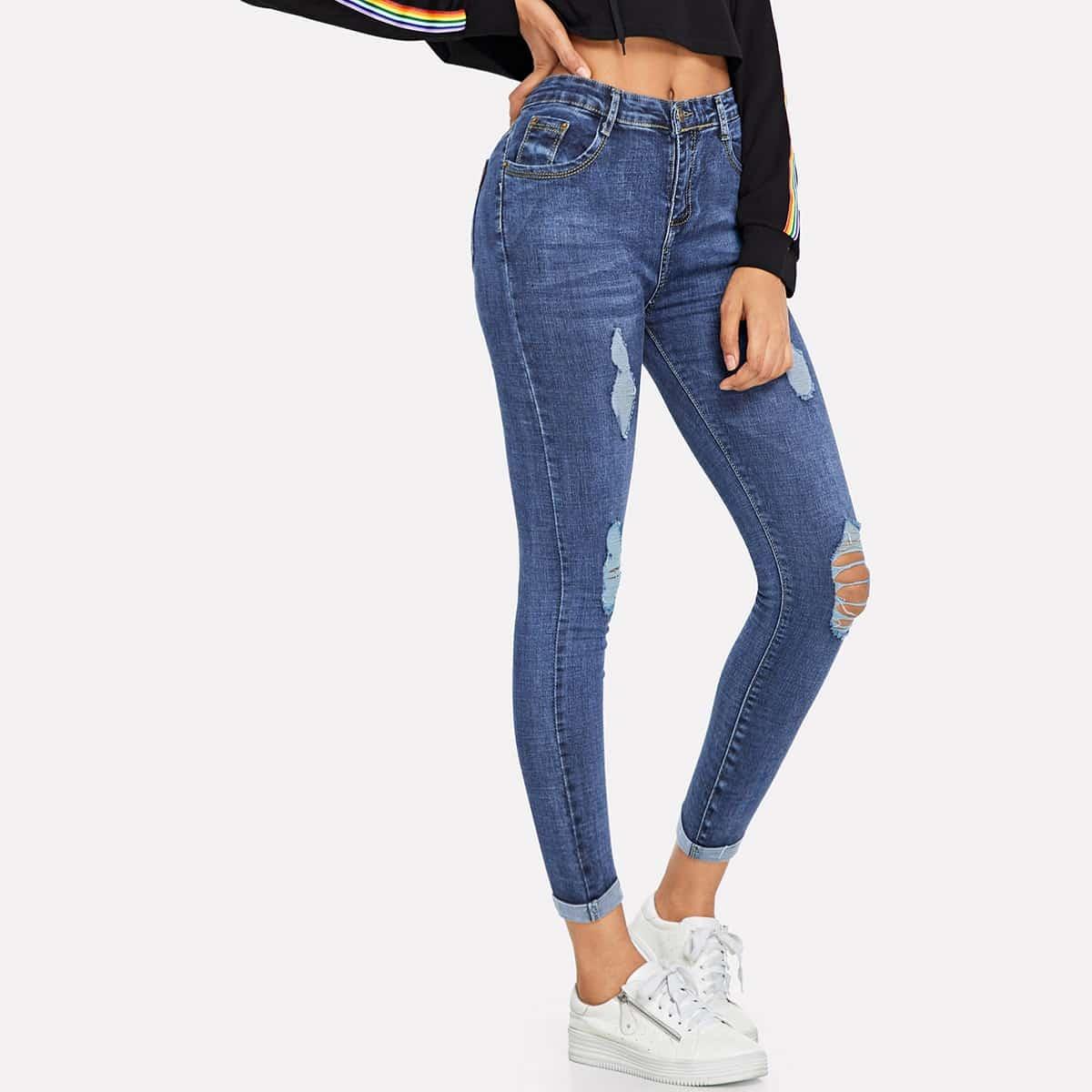 shein Gescheurde Jeans met Opgerolde Zoom