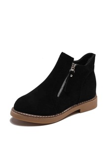 Side Zip Suede Ankle Boots
