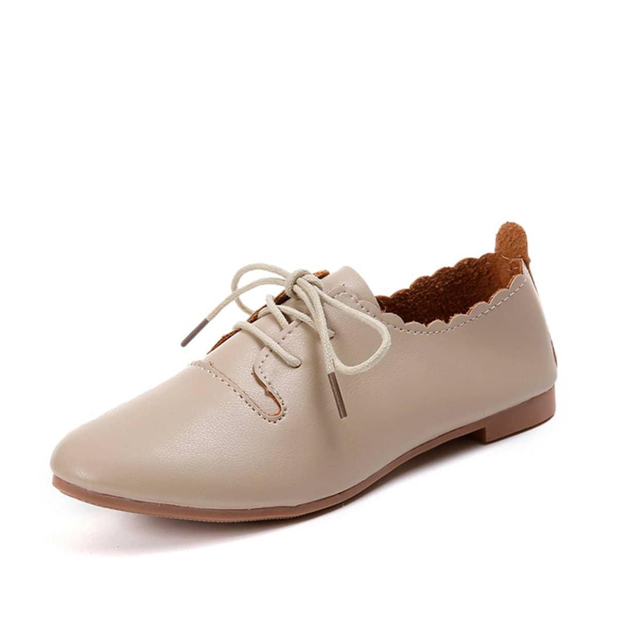 Туфли без каблуков на шнуровке с веерообразной отделкой от SHEIN