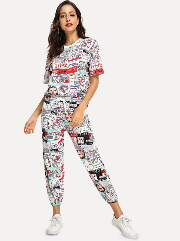 b843a64fd2 Comic Print Tee & Drawstring Waist Pants | SHEIN IN