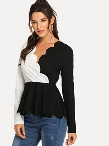 Two Tone Scallop Trim Surplice Peplum Top