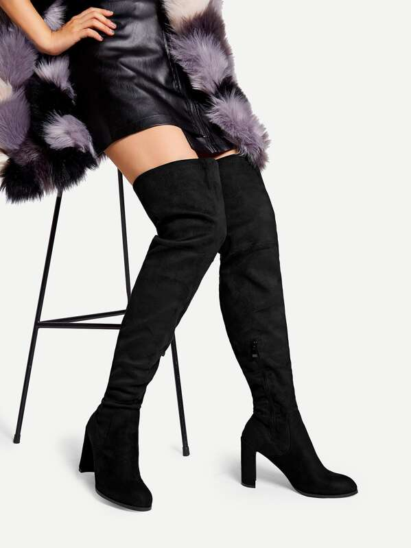 dbbb3bd864 Over The Knee Side Zipper Boots | SHEIN