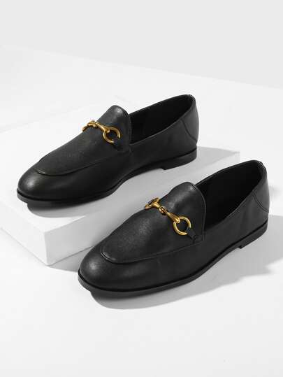 Metal Detail Flat Loafers
