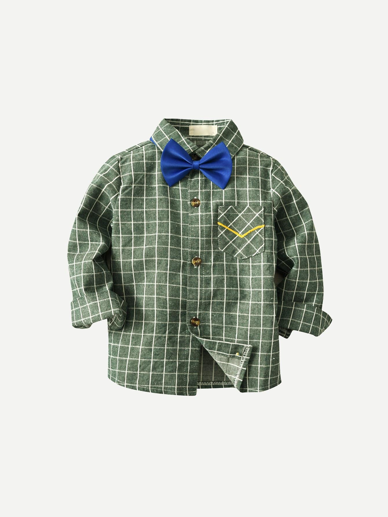 Boys Bow Front Plaid Shirt Boys Bow Front Plaid Shirt