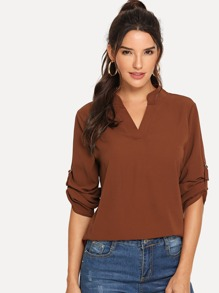 V Neck High Low Blouse