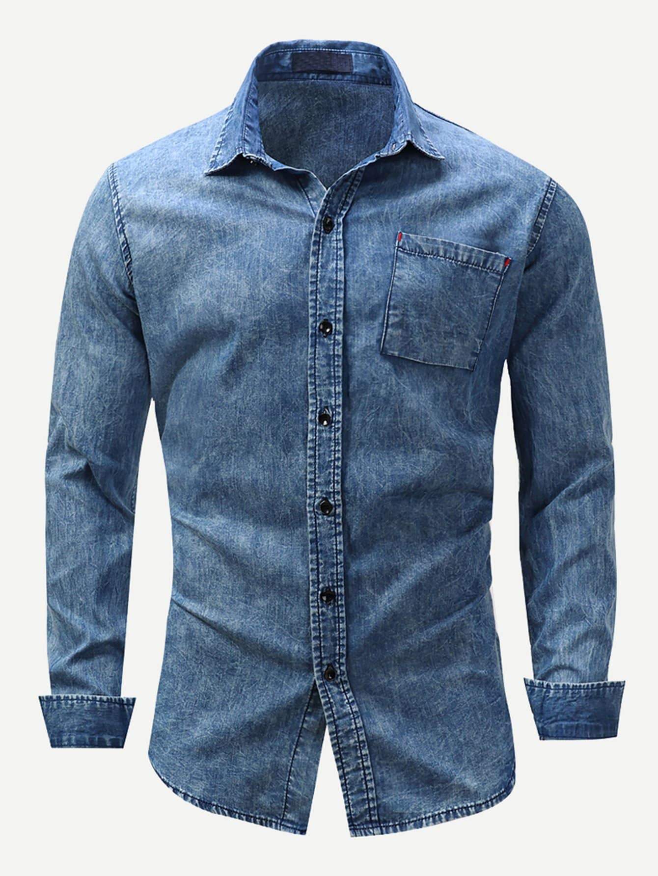 Men Washed Denim Shirt Men Washed Denim Shirt