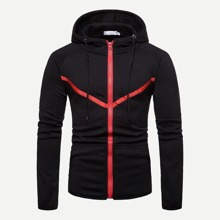 INOpets.com Anything for Pets Parents & Their Pets Guys Contrast Trim Zip Up Hoodie