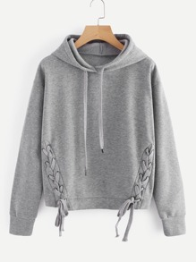 Plus Lace Up Front Solid Hoodie