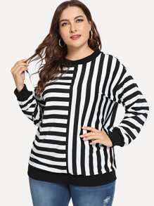Plus Contrast Striped Tee