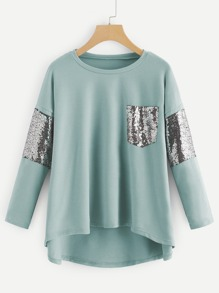 Contrast Sequin High Low Tee
