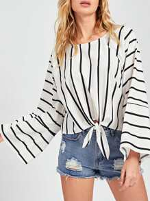 Knot Front Vertical Striped Top