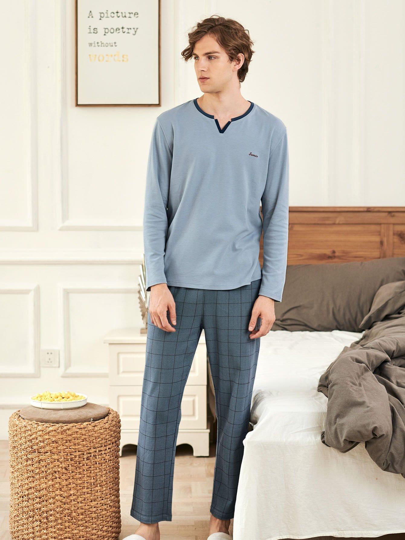 Men Letter Embroidered Plaid Pajama Set Men Letter Embroidered Plaid Pajama Set