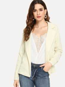 Elastic Waist Double Breasted Blazer