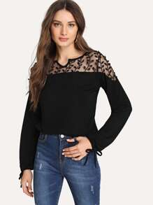 Tree Embroidered Mesh Yoke Tie Cuff Top