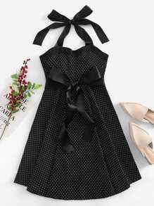 Halter Neck Knot Polka Dot Dress