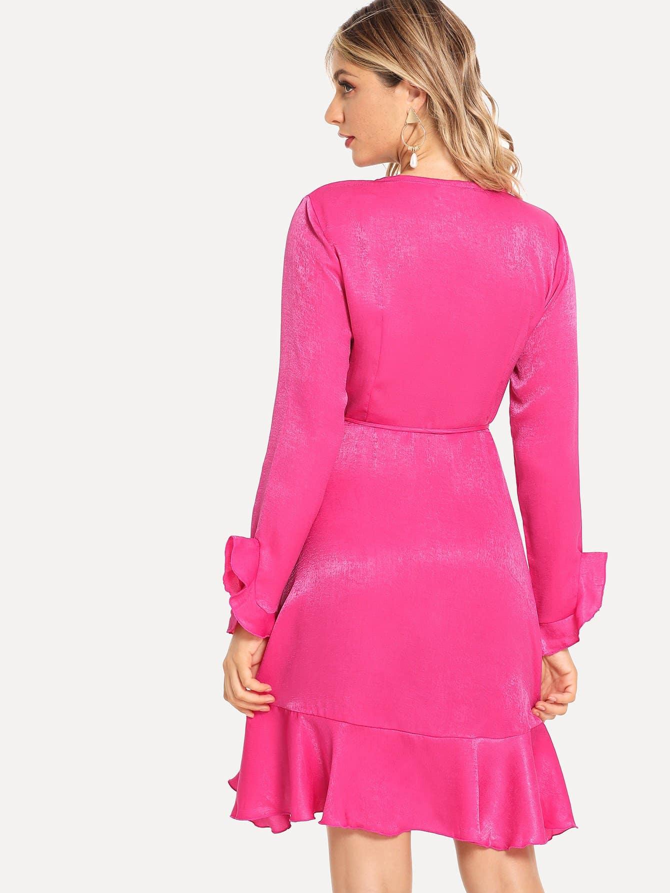 9d574cf5cb Neon Pink Ruffle Hem Wrap Bell Sleeve Dress | SHEIN IN