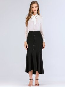 Button Front Flounce Hem Skirt
