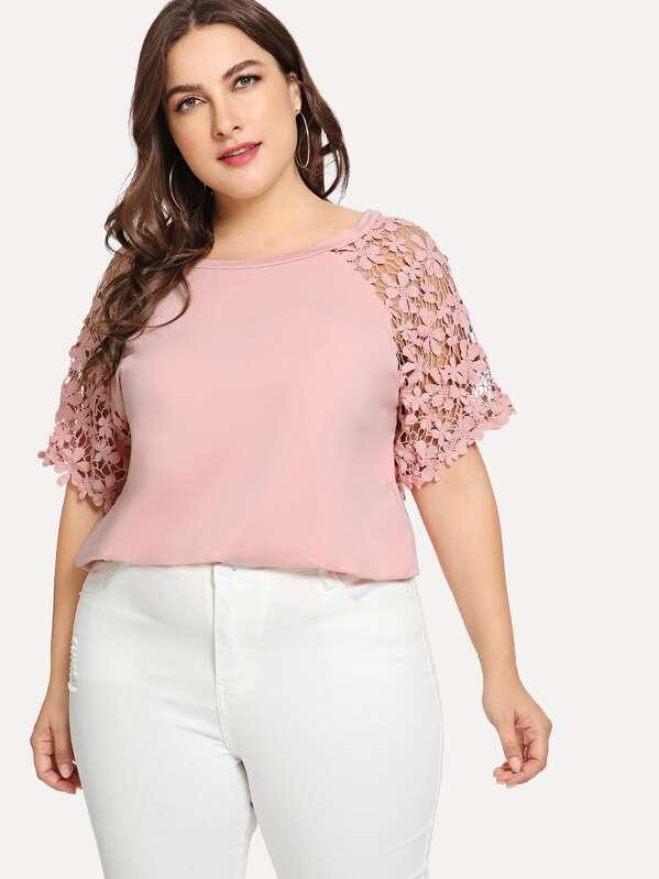 9a6ee61a84 Plus Guipure Lace Raglan Sleeve Top | SHEIN UK