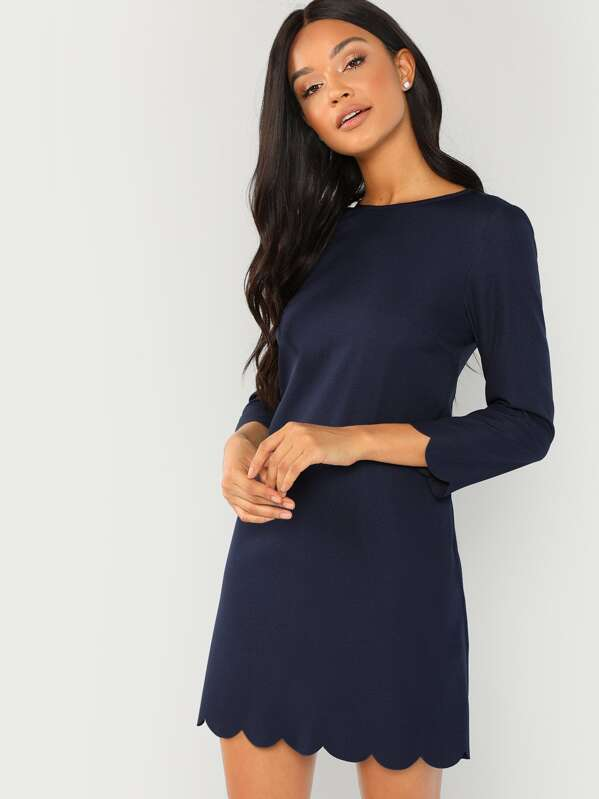 6ee7cb3cf4 Scallop Trim Tunic Dress | SHEIN