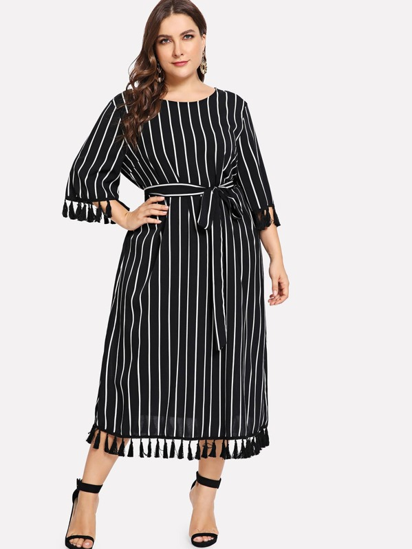 402eee7d5c0 Plus Tassel Embellished Striped Tunic Dress