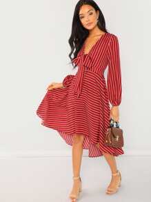 Plunging Neck Knot Striped Dress