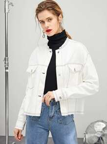 Contrast Stitch Raw Trim Jacket