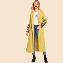 Image of Leopard Faux Fur Cuff Longline Coat