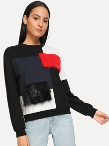 Cut and Sew Faux Fur Sweatshirt