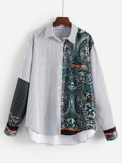 Striped & Paisley Dip Hem Spliced Shirt