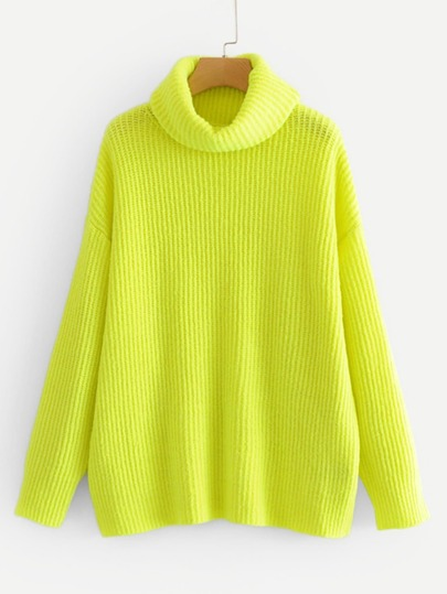 Neon Lime Turtleneck Drop Shoulder Jumper