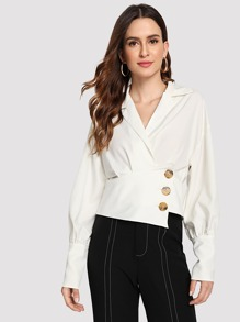 Lantern Sleeve Button Front Wrap Blouse