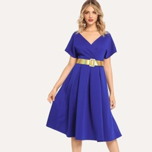 SHEIN | Surplice Neck Pleated Dress Without Belted | Goxip