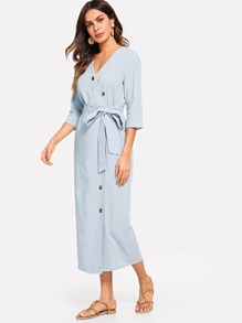 Self Belted Surplice Wrap Dress