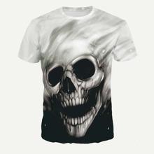 Guys Halloween Skeleton Print Tee